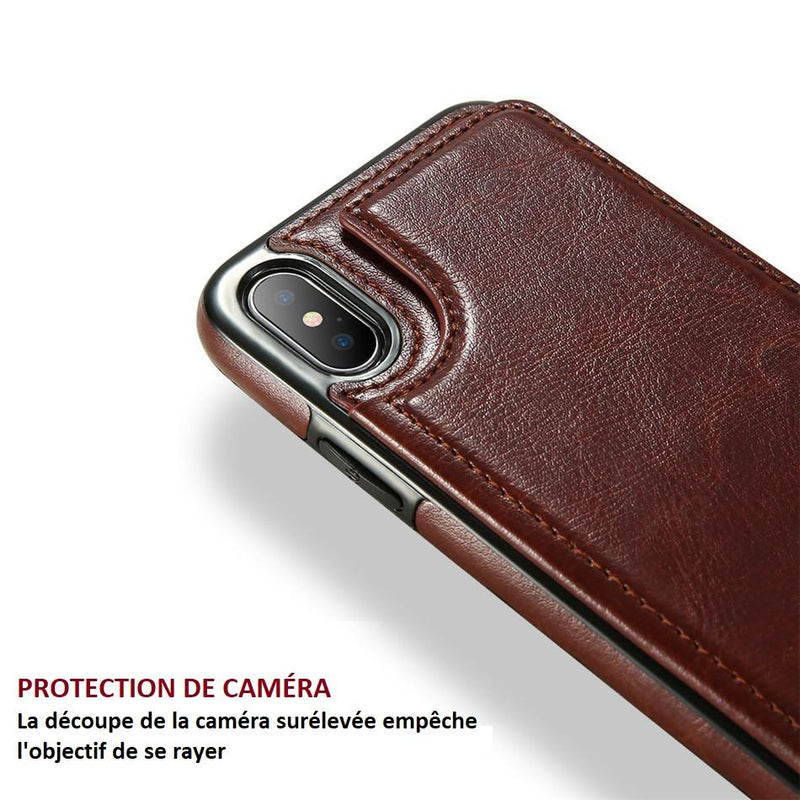 Etui En Cuir De Luxe Pour I-Phone Multi-Usage raton-malin Marron Pour iPhone 6 6s