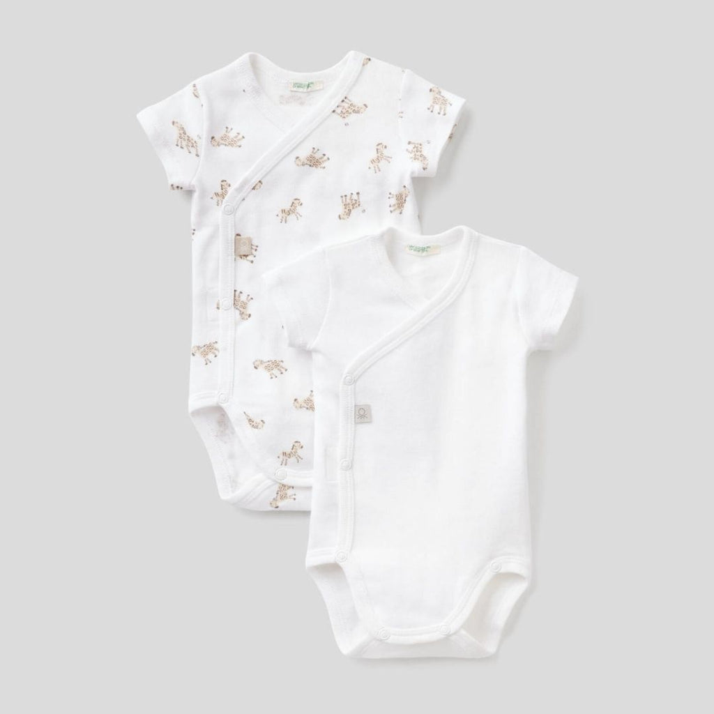 Benetton Two Short-Sleeve Bodysuits in Organic Cotton