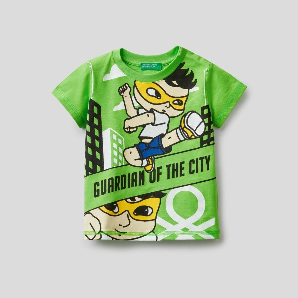 Benetton 100% Cotton T-Shirt with Superhero Print