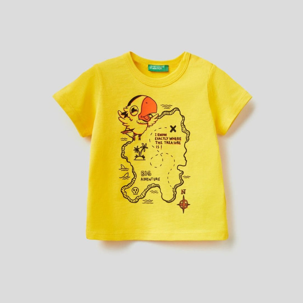 Benetton 100% Cotton T-Shirt with Maxi Print