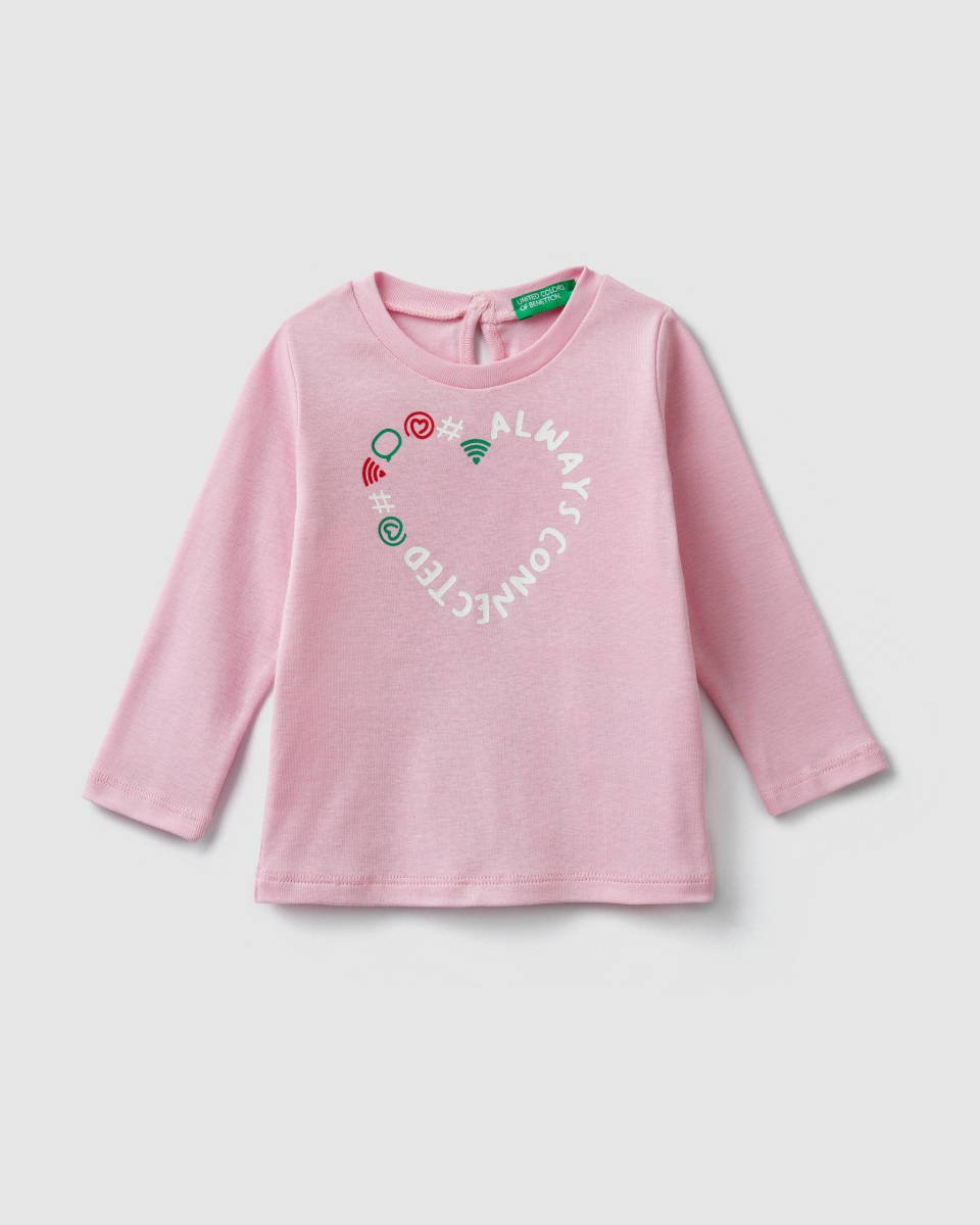 Benetton Ribbed T-Shirt with Print
