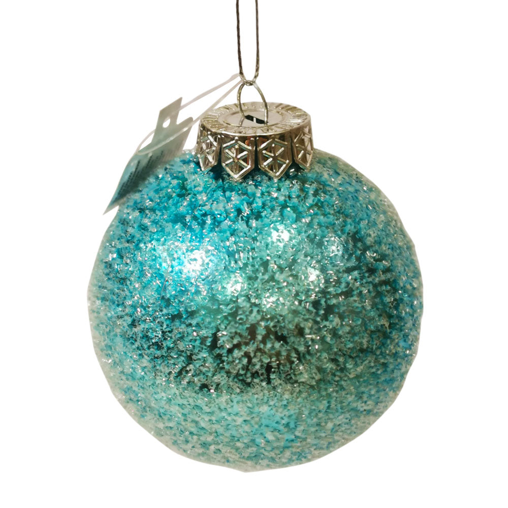 Decoris Blue Ice Finish Bauble