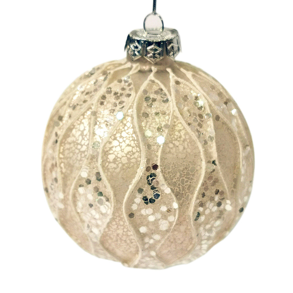 Decoris White Sequin and Glitter Bauble