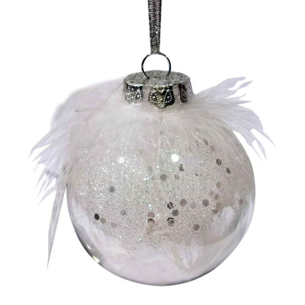 Decoris White Glitter Bauble with Feathers