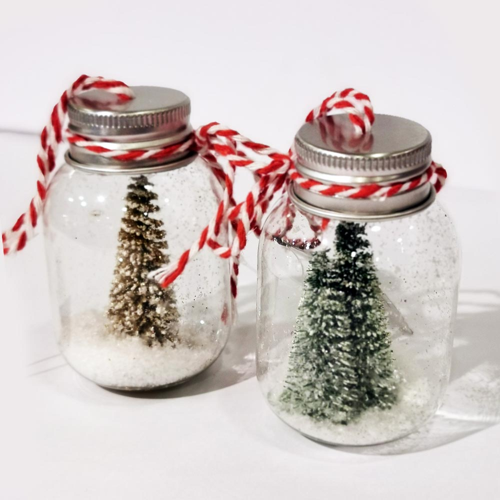 Decoris Snowy Christmas Trees in Glass Bottle Ornament