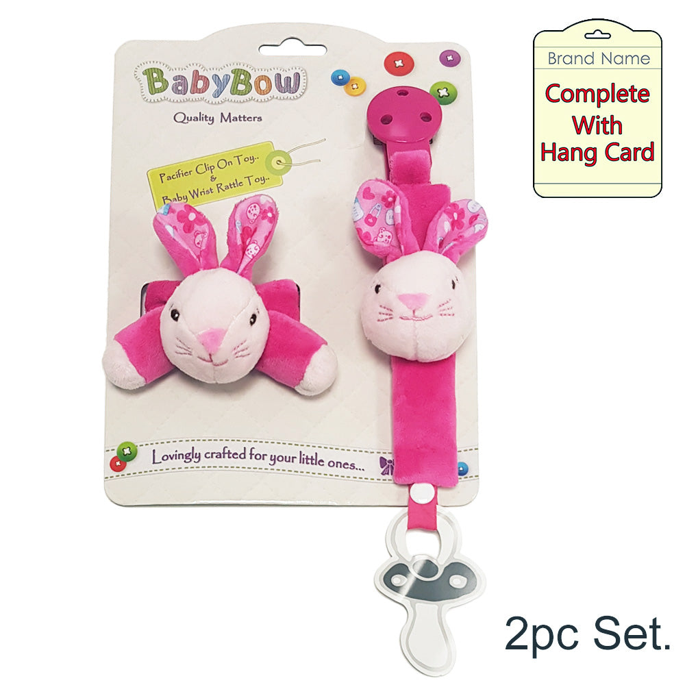 BabyBow Soft Bunny Soother Clip & Wrist Rattle