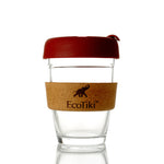 Reusable Glass Coffee Cup (Dark Red)