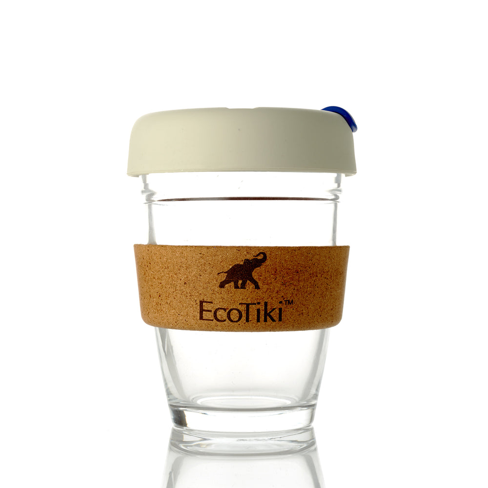 Reusable Glass Coffee Cup (light grey /Purple) - Ecotiki