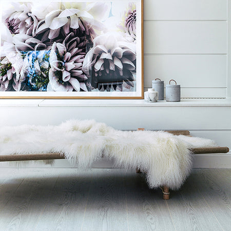 WHITE MONGOLIAN SHEEPSKIN THROW
