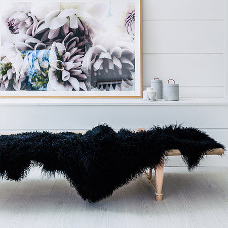 BLACK MONGOLIAN SHEEPSKIN THROW