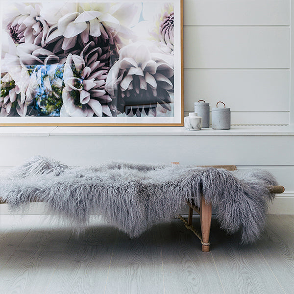 LIGHT GREY MONGOLIAN SHEEPSKIN THROW