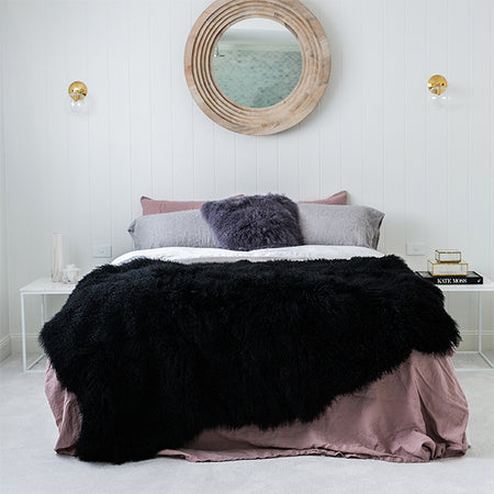 BLACK MONGOLIAN SHEEPSKIN BLANKET