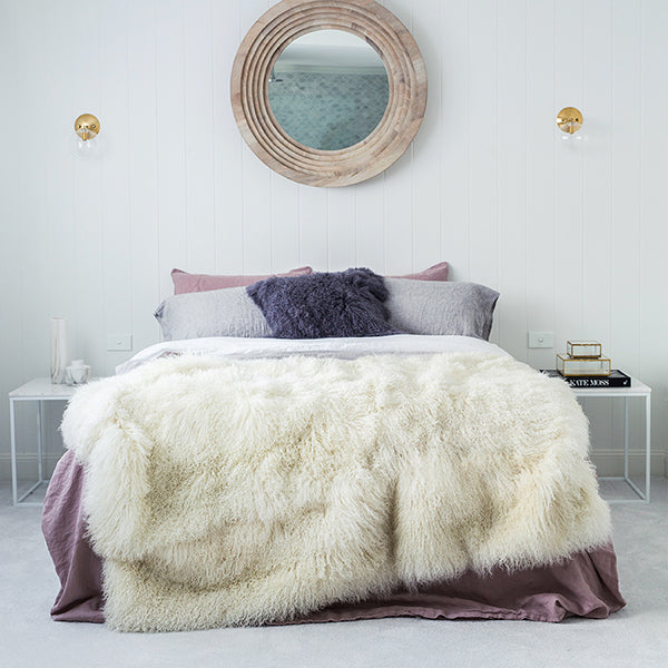 WHITE MONGOLIAN SHEEPSKIN BLANKET