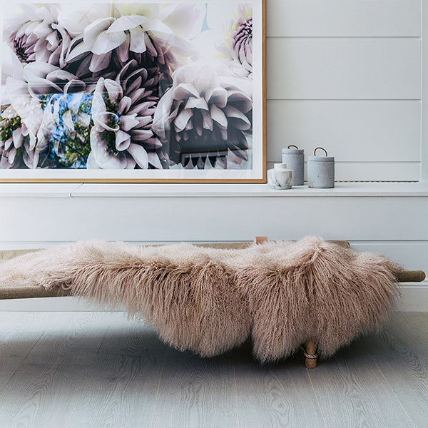 FAWN MONGOLIAN SHEEPSKIN THROW