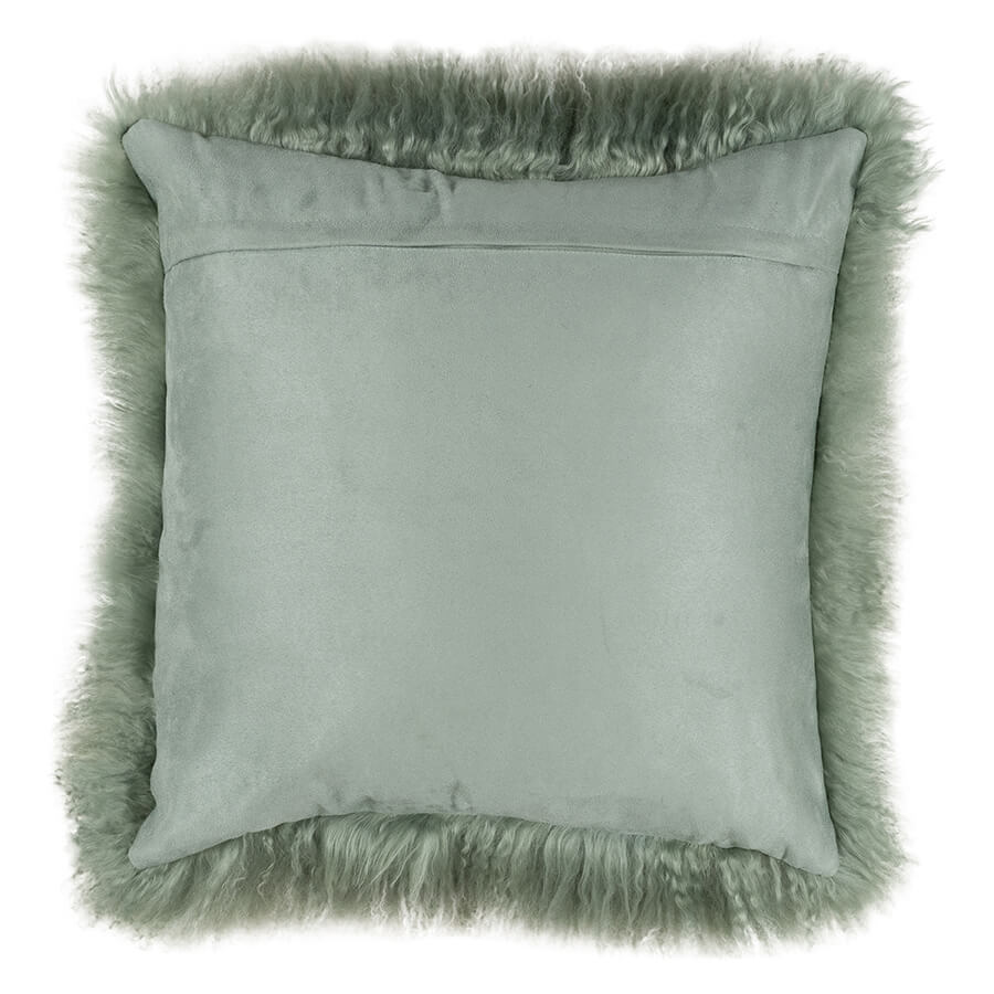 MONGOLIAN SHEEPSKIN CUSHION GREEN WITH WHITE TIP