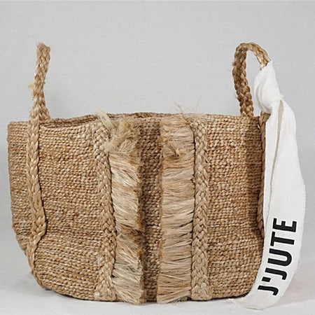 BAZAR MEDIUM WIDE FRINGE JUTE BASKET NATURAL