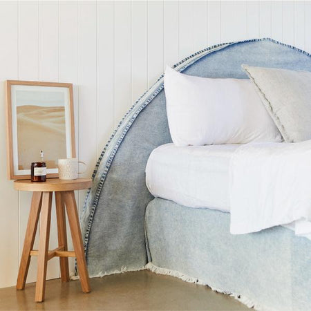 HALF MOON | DENIM BEDHEAD WITH SLIPCOVER