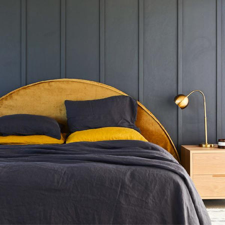 THE HALF MOON | VELVET BEDHEAD WITH SLIPCOVER