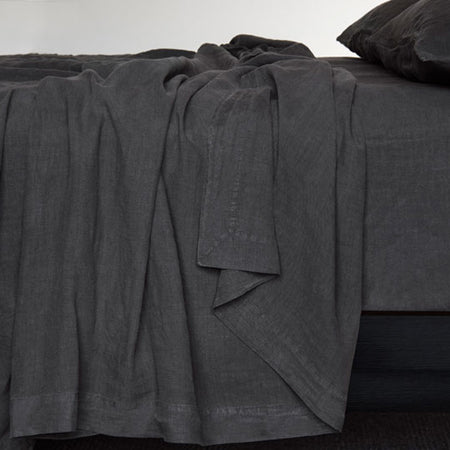 """COAL"" DOUBLE STONEWASHED BED LINEN by BEMBOKA"