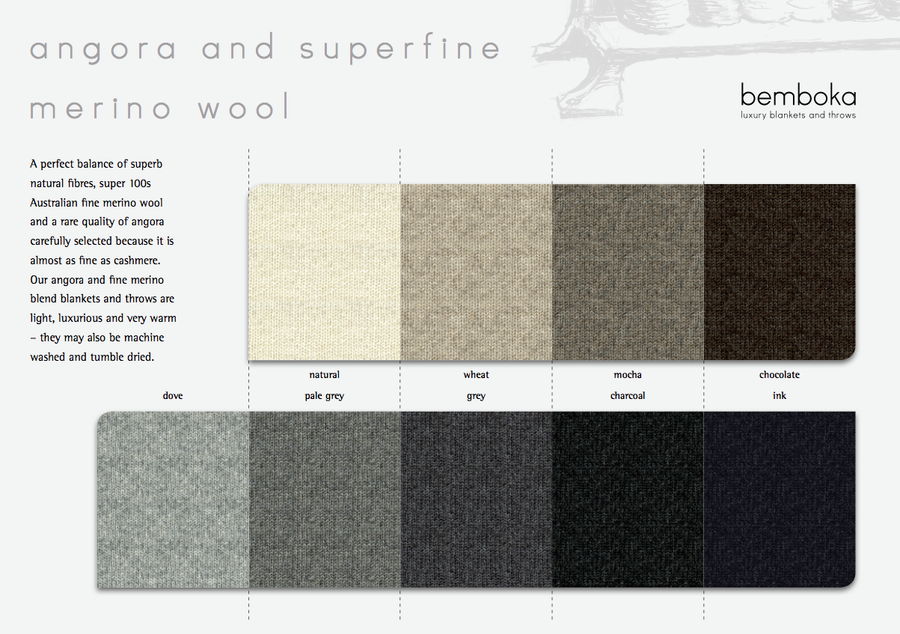 BEMBOKA WIDE RIB FINE MERINO WOOL & ANGORA THROW
