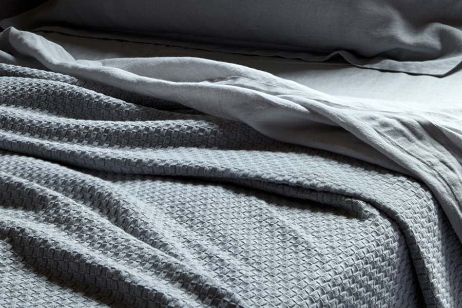 BEMBOKA BASKET WEAVE COMBED COTTON THROW