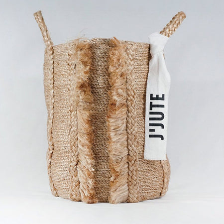 BAZAR TALL FRINGE JUTE BASKET NATURAL