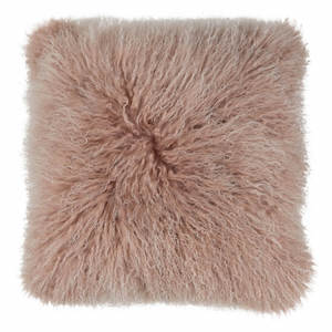 MONGOLIAN SHEEPSKIN CUSHION ROSE WITH WHITE TIP
