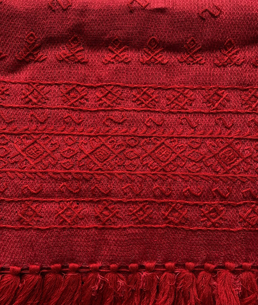 HAND EMBROIDERED LINEN BENAKI BORDER SHAWL