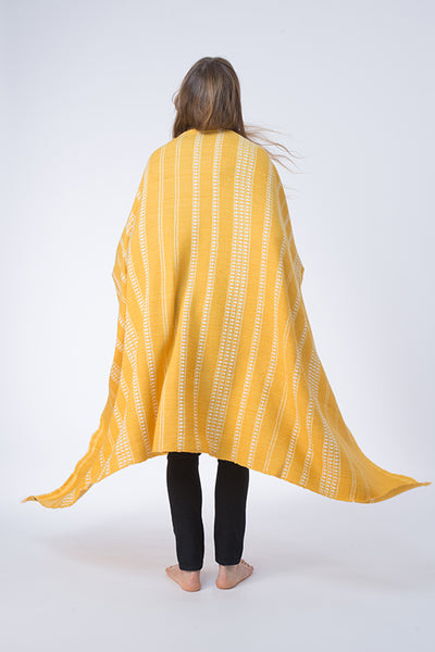 All Over Banded Herringbone Wool Shawl