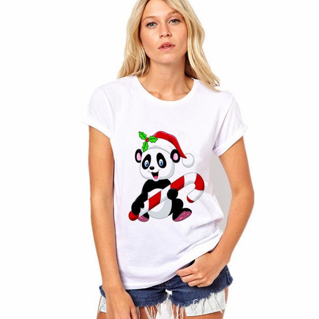 Panda With Candy Cane Tee