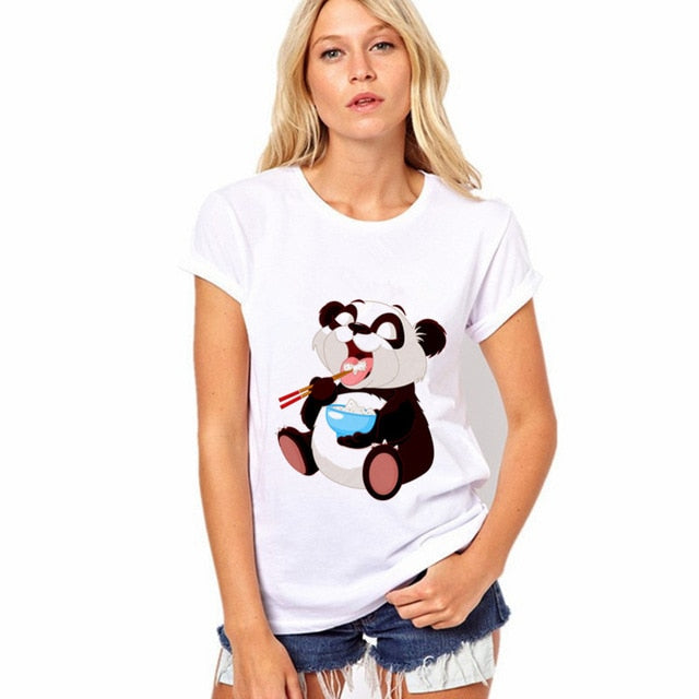 Panda Eating Rice Tee