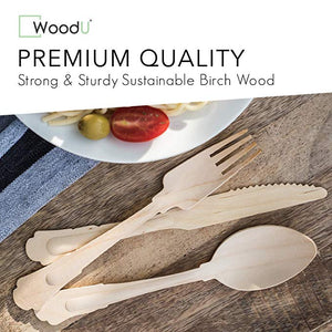 Woodushop Disposable Wooden Cutlery Set Elegant Utensils