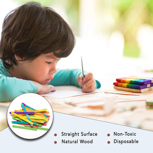 "Colored Wood Jumbo Popsicle Sticks - (6"", 100 pcs)"