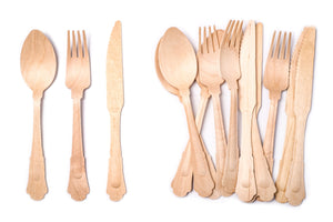 ECO FRIENDLY ELEGANT WOODEN CUTLERY SET - 100 FORKS 100 SPOONS 100 KNIVES