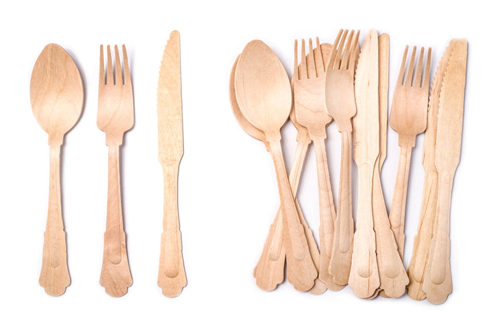 "DISPOSABLE ELEGANT WOODEN UTENSILS, 7.75"" 300PC- 100 FORKS 100 KNIVES 100 SPOONS"