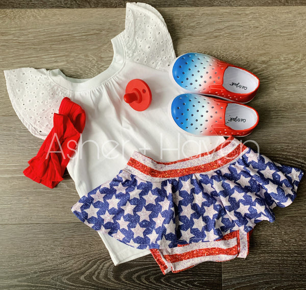 Glitter Stars + Stripes Skirted Bummies