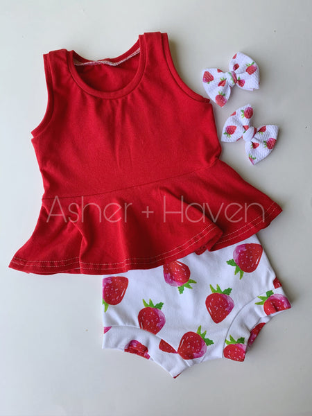 Red tank peplum