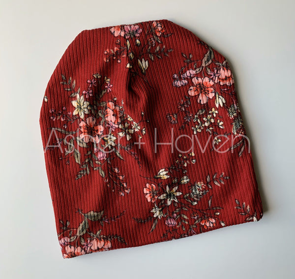 Deep Red Floral Slouchy Beanie