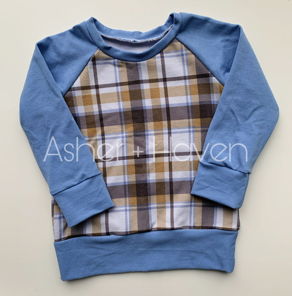 Blue + Tan Plaid Raglan