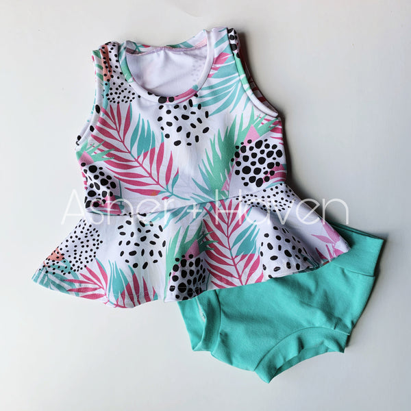 Tropical Leaves Tank Peplum + Bummies