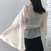wide sleeves crepe blouse
