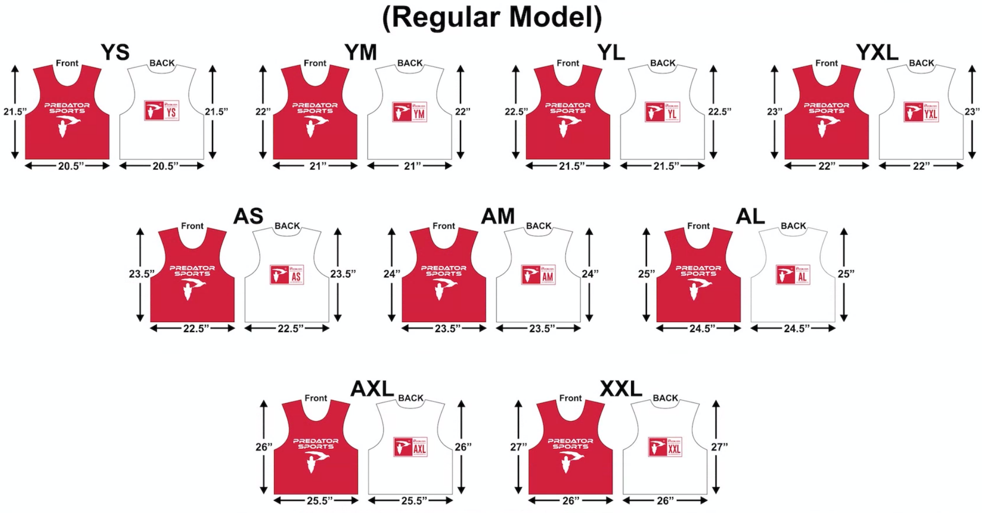 Predator Sports Custom Deluxe Lacrosse Pinnies Adult Sizing Guide