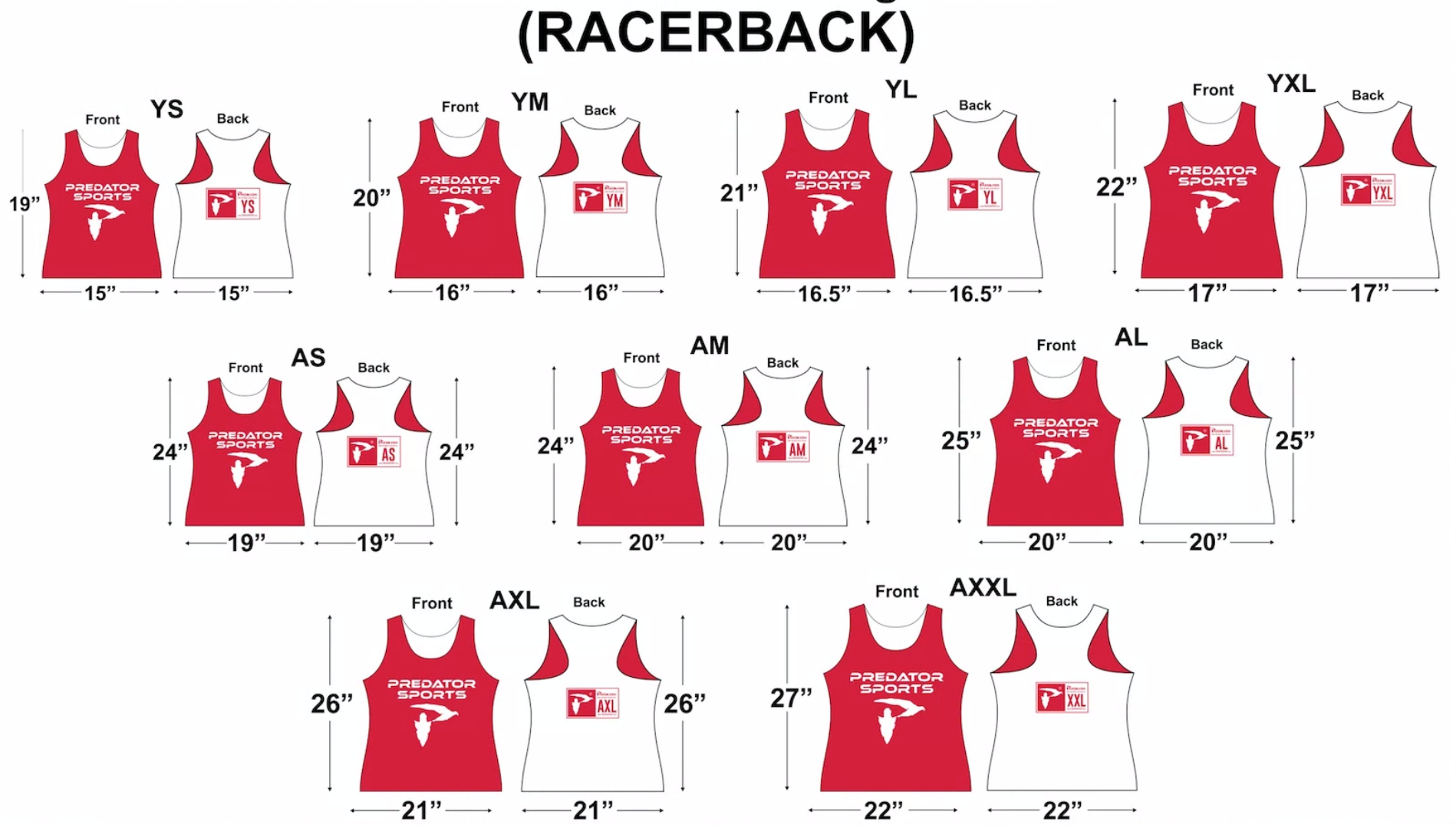 Predator Sports Custom Deluxe Lacrosse Pinnies Youth Sizing Guide