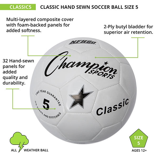 Champion Sports Classic Hand Sewn Soccer Ball Size 5