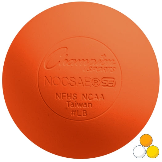Orange Champion Sports Lacrosse Ball meets NOCSAE standard SEI Certified