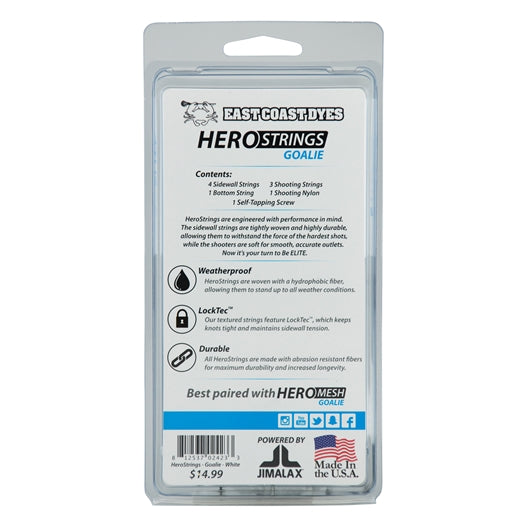 ECD Lacrosse Goalie Hero Strings Kit White Back