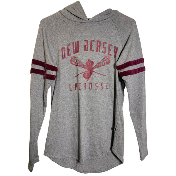 NJ Lacrosse Ladies Hooded Long Sleeve Shirt Maroon