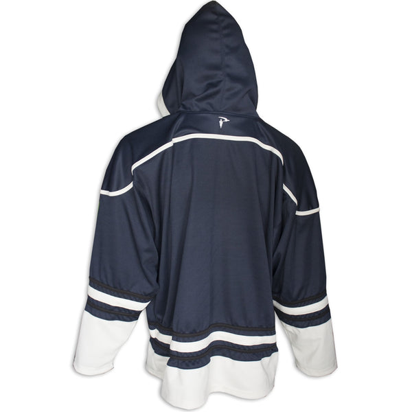 Custom Sublimated Tackle Twill Hockey Hoodie Back View