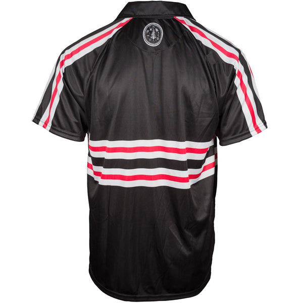 Custom Sublimated Polo Back View Red Stripe