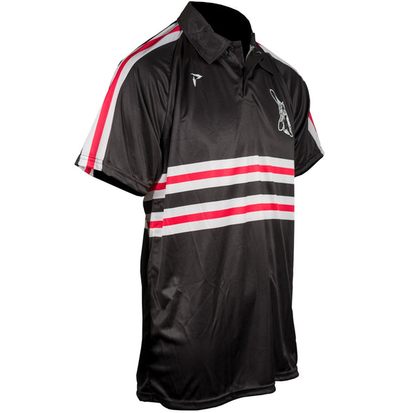 Custom Sublimated Polo Side View Red Stripe